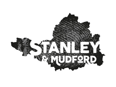 Stanley & Mudford fingerprint map type monochrome black and white brand typography mark branding logo