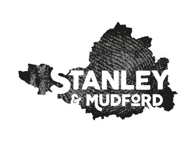 Stanley & Mudford fingerprint map type monochrome black and white brand typography mark branding logo