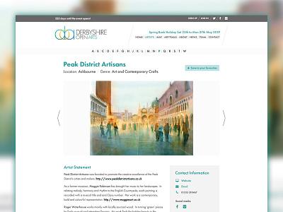 Derbyshire Open Arts artist page redesign website design web design webdesign refresh redesign open studios hero futura events clean artists art