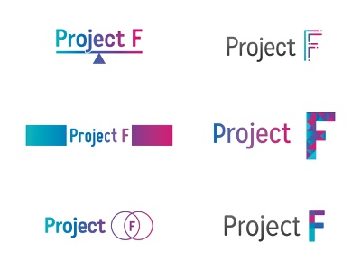Project F logo developments logo women in tech branding concept wip typography type mark identity ideas feminism colour female branding brand and identity brand