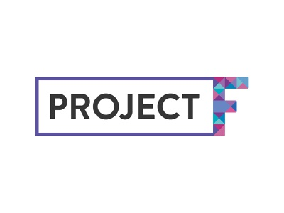 Project F logo stamp colourful typography type logo mark branding and identity women in tech feminism female branding concept branding brand and identity brand