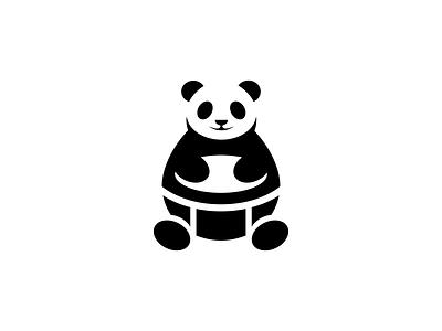 Panda Drum panda bear smart negativespace panda logo studio sound music art musicapp musical music drummer drum icon logo animal panda