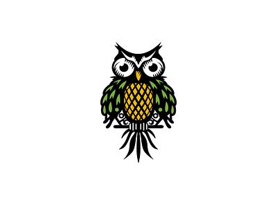 Pineapple Owl style eyes fun icon bird logo bird wings illustrations illustration animal fruit cartoon owl logo logo feathers leaf owl pineapple