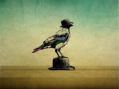 Crow Pleonasm crow art drawing logo bird animal vintage design vector illustration