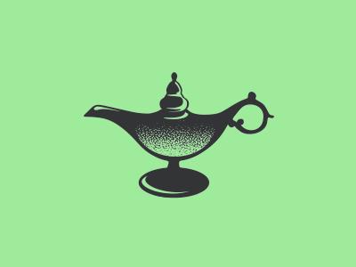 Aladdin brand logo icon minimalisti shine green smallbussines restaurant story aladdin lamp