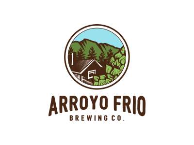 Arroyo Frio Brewing Co. bussiness brewery sky logo forest cabin hops company brew brewing
