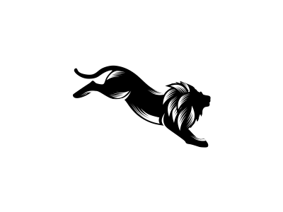 Jumping Lion business bold energetic jump simple wildlife sport yoga fitness animal lion