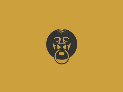 Gold Lion icon brand company advertising sun icon simple cool mystery door power gold lion