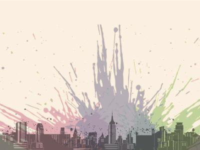 City design color bold illustration drawing architecture modern digital town urban skyline city