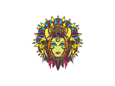 Acai Woman logo beauty bold shield jungle fruit food restaurant cafe icon woman acai