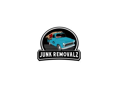 Junk Removalz vintage removal car drawing cartoon junk old sofa blue illustration logo truck