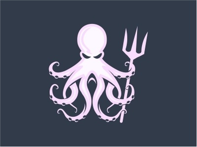 Octopus fish secure protection bold arms greek god trident guardian power maritime ocean branding company logo design illustration vector icon octopus