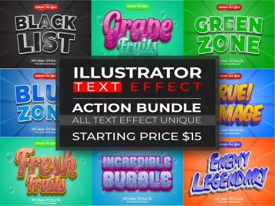 Illustrator text effect with unique themed trend text effect text fruits font effect editable comic cartton bundle