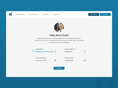 Form page for Reach uiux