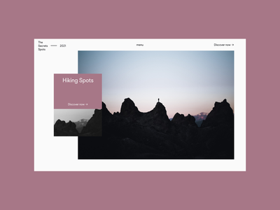 Hiking Spots - Hero pink 365project minimal uxui webdesign userinterface ux uiux hero design ui