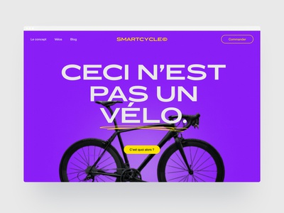 Smartcycle Hero yellow purple colorful electric connected bike userinterface webdesign design ui