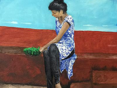 Girl with jackfruit baskets mangaloreancuisine blue lostinwork peaceful indiangirl cooking mangalore peace meditation figurative stilllife oiloncanvas oilpainting fineart contemporaryart indianart karthikshetty atmarasa