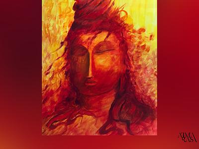 Rudra rudra thirdeye fire crimson shiva peaceful abstractart peace meditation figurative stilllife acrylicart acrylic acrylicpainting fineart contemporaryart indianart karthikshetty atmarasa