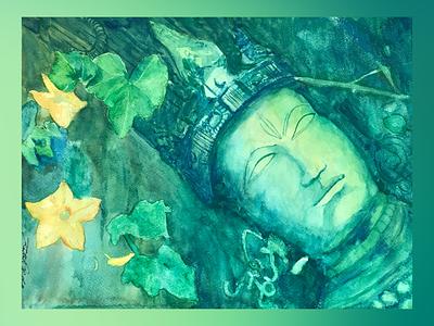 """Tryambaka, """"The Three-eyed One"""" shiva peace meditation vedic veda figurative stilllife hoysala watercoloronpaper aquarellepainting aquarelle watercolorart watercolor watercolorpainting fineart contemporaryart indianart karthikshetty atmarasa"""