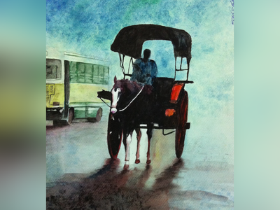 Bangalore rain rainy day tonga horse peace meditation streetart figurative stilllife peopleisee watercoloronpaper aquarellepainting aquarelle watercolorart watercolor watercolorpainting fineart contemporaryart indianart karthikshetty atmarasa