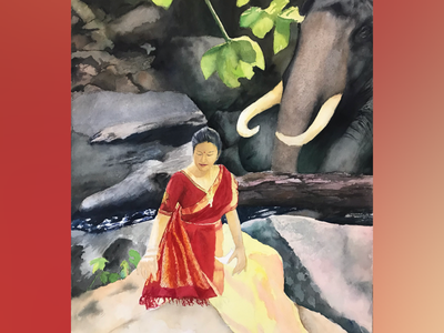 Gajalakshmi peace meditation streetart figurative stilllife peopleisee watercoloronpaper aquarellepainting aquarelle watercolorart watercolor watercolorpainting fineart contemporaryart indianart karthikshetty atmarasa