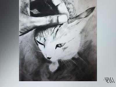 My cat in charcoal nature stilllife watercoloronpaper aquarellepainting aquarelle watercolorart watercolor watercolorpainting fineart contemporaryart indianart karthikshetty atmarasa