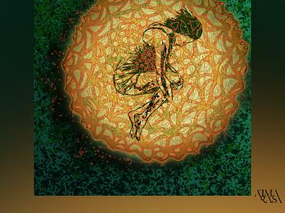 Ensconced in a butterfly egg illusion halftones peace meditation streetart figurative stilllife peopleisee vectorillustration vectorart vector illustrator illustration indianart karthikshetty atmarasa
