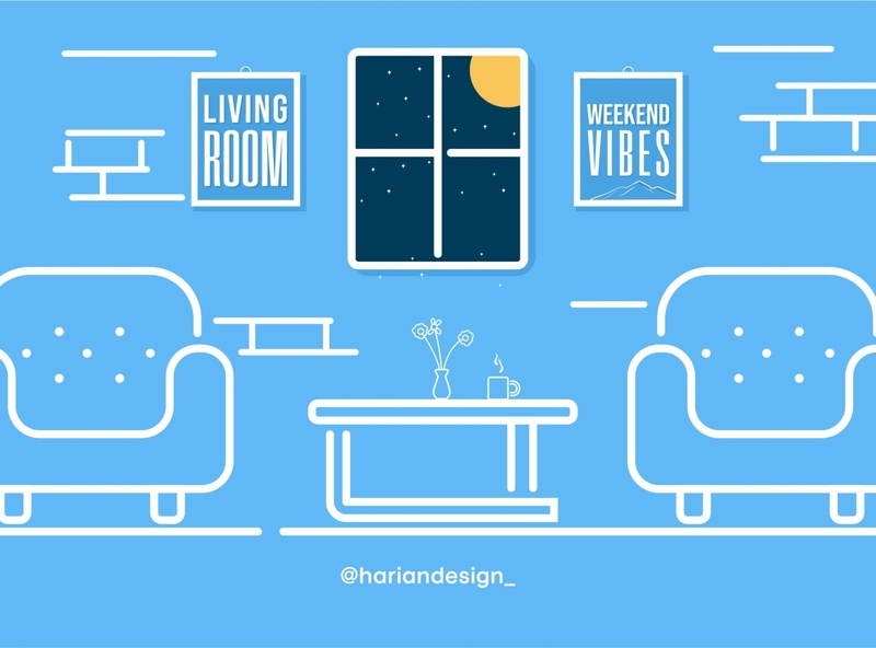 Living Room minimal icon flat design illustration