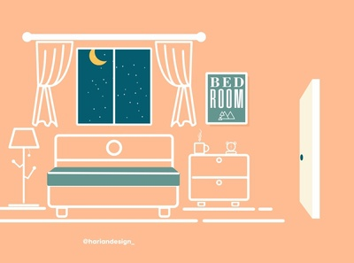 Bed Room website vector minimal illustration flat design