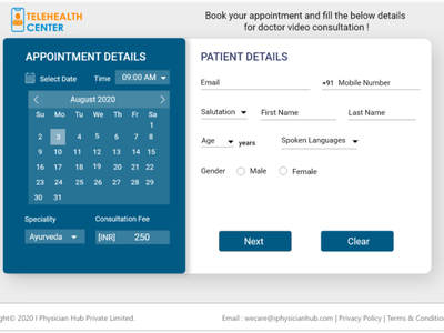 patient Appointment consulting doctor calender design web ux user experience ui appointment booking appointment