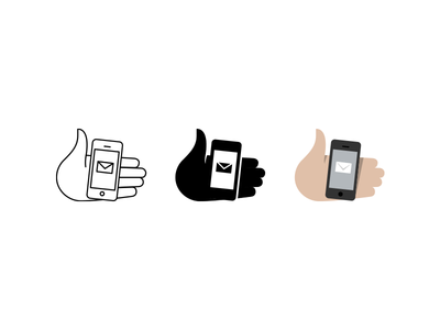 Hand w/ device icons pictograms hand iphone iconography symbol