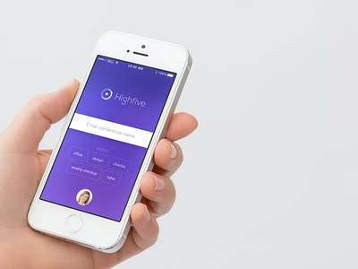 Highfive iOS App highfive app ios button interface design field gradient avatar purple logo hand