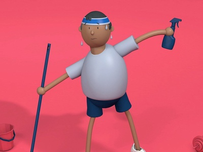 quarantine personality #1 the fitness freak excercise workout workfromhome design 3dmodelling 3d animation illustration