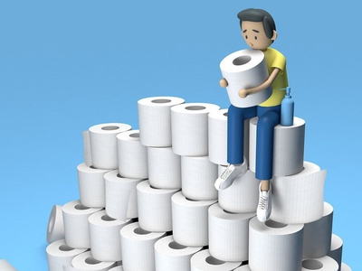 quarantine personality #2 - the hoarder covid concept hoarder covid19 toiletpaper toilet illustration 3dmodelling design branding 3d animation