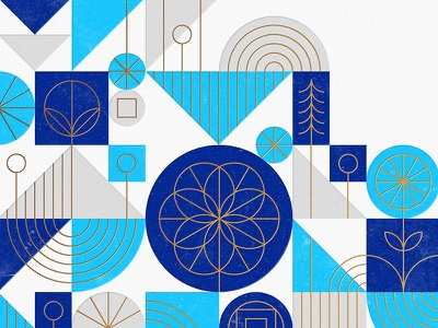 California Detail california flower tree geometric print letterpress foil gold