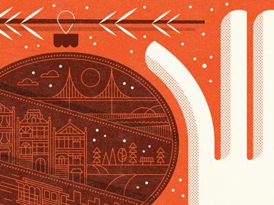2011 Holiday Card holiday card ornament tree san francisco icon illustration city