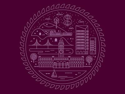 2013 Salary Guide 1 publication foil stamp map seal illustration city buildings crest sun