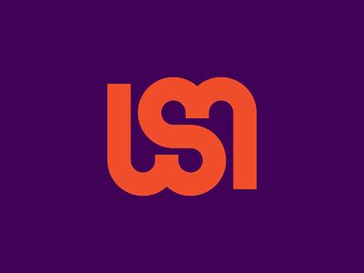 WSM monogram letter icon logo packaging