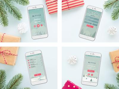 Santas secret mobile app illustration graphic mobile app design design app