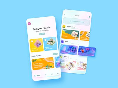 A - Print your History ux fun bright ios mobileapp color photobook figma lifestyle app inostudio graphics design