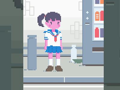 Aoi Pixel Illustration digital illustration art pixel vending uniform schoolgirl japanese