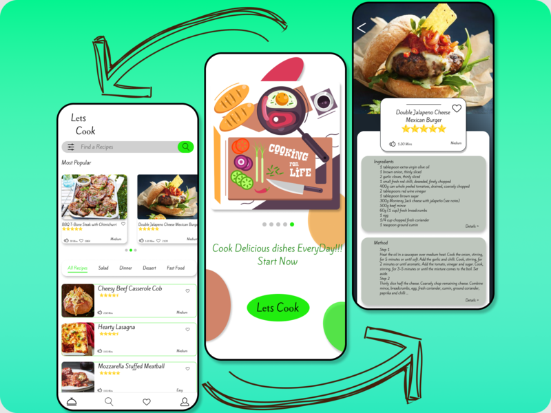 Lets Cook vector ux ui design illustration