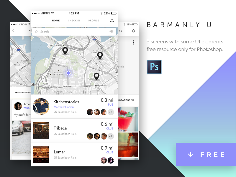 FREEBIE: Barmanly App UI Kit download photoshop iphone ios app ui freebie free kit screens
