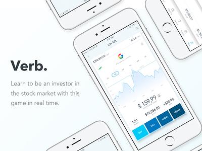 Verb App for iOS app modern design clean white market stock game ios ux ui