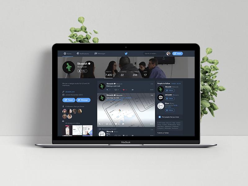 Twitter — Dark Mode for Web avenir profile web version night mode dark twitter redesign concept design ui