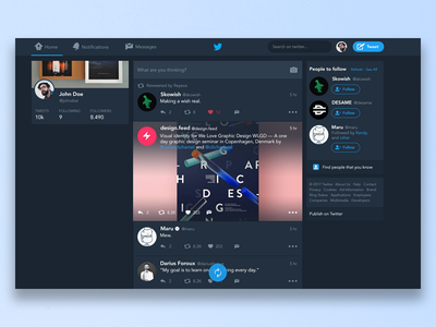 Twitter Night Version for Web ui design concept redesign twitter dark mode night version web home feed