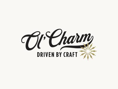 Ol' Charm Logo script wheel taps craft beer beer vintage identity tap truck mobile bar branding design brand identity branding brand logo design logo