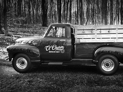 Ol' Charm '54 Pick-Up Decals pickup truck vintage craft beer beer wheel taps tap truck mobile bar logo design logo branding design brand identity branding brand vehicle decal vehicle graphics