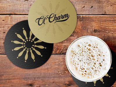 Ol' Charm Coasters craft beer beer print coasters wheel taps tap truck mobile bar brand design brand identity branding brand logo design logo