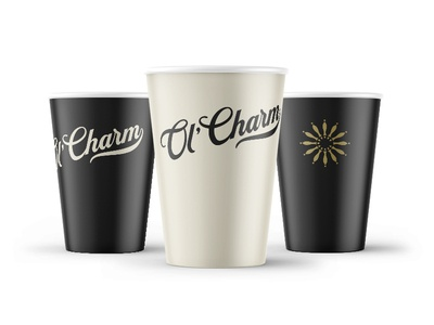 Ol' Charm Craft Beverage Cups craft beer beer cups wheel taps tap truck mobile bar brand design brand identity branding brand logo design logo